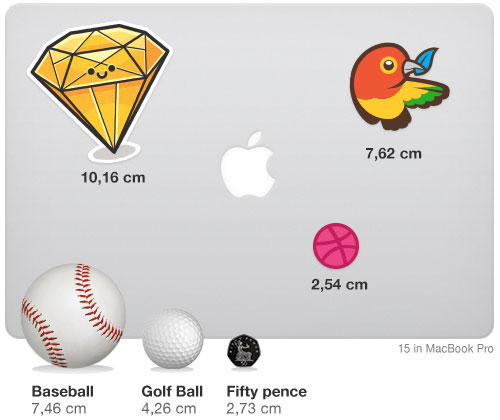 Example objects and their sizes for reference